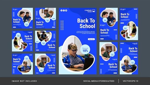 Zurück zu schule instagram post und stories vorlagensatz