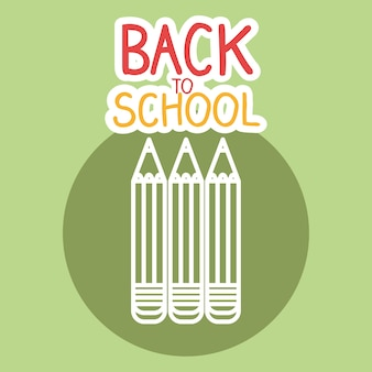 Zurück zu schule-label mit farben buntstifte