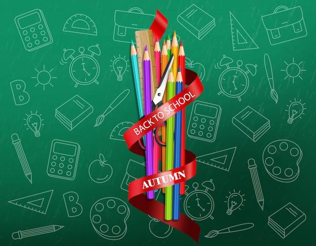 Zurück zu schule liefert bunte zeichenstifte illustration