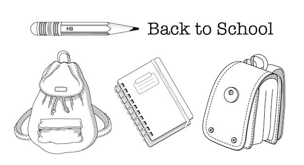 Zurück zu schule malvorlagen. set von kindischen schulmaterial vektor-illustrationen. rucksack, schulranzen, bleistifte und notizbuch. premium-vektor