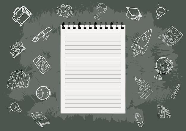 Zurück zu schule mit hand gezeichneten gegenständen