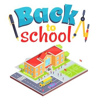 Zurück zu schule mit schulbereich lokalisiertem 3d