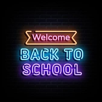 Zurück zu schule-neontext-neonzeichen-symbol
