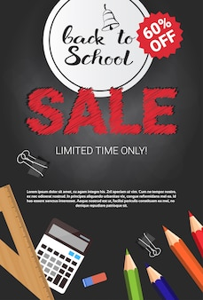 Zurück zu schule-saisonverkaufs-plakat-einkaufsrabatt