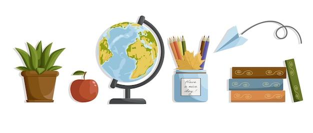 Zurück zu schule schulartikel globus bleistifte in einem glas schulbücher apfel für lehrer