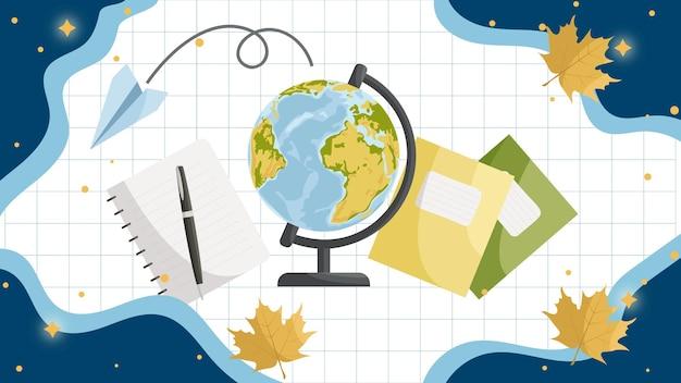 Zurück zu schule schulartikel globus bleistifte in einem glas schulbücher schulhintergrund