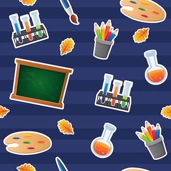 Zurück zu schule seamless pattern