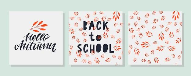 Zurück zu schule skizzenhafte kritzeleien mit handgezeichneten vektor-illustration herbstlaub letteringdesign
