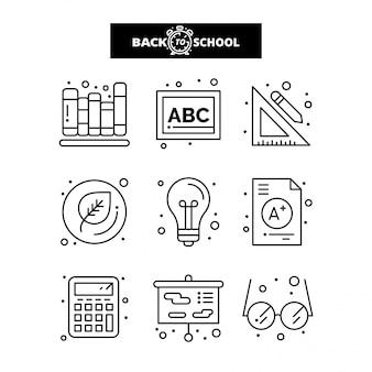 Zurück zu schule-symbol. bildungs- und lernlinie ikonen eingestellt.