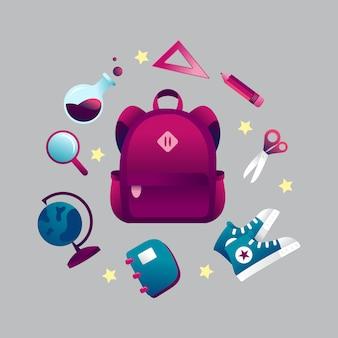 Zurück zu schule-thema-einzelteil-kundenspezifischer illustration mit rucksack und stationärem