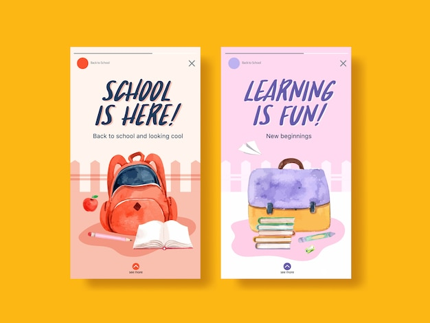 Zurück zu schule und bildungskonzept mit instagram-vorlage für social media und digitales marketing-aquarell