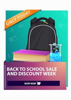 Zurück zu schule und rabattwoche rabatt vertikale web-banner