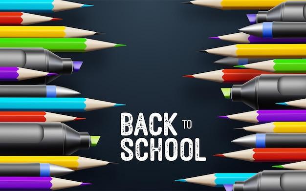 Zurück zu schule weißes vintage-banner mit schulmaterial auf schwarzem tafelhintergrund