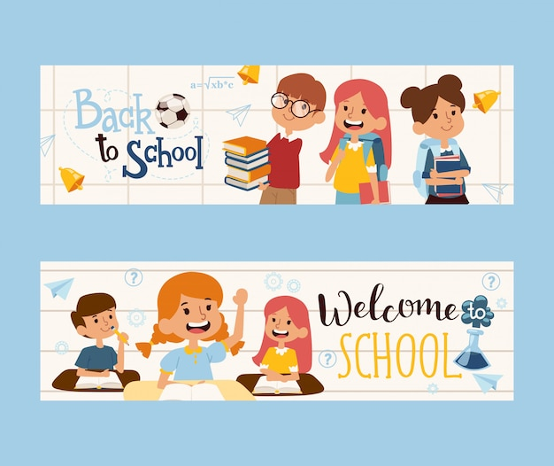 Zurück zu schulfahne illustration. glückliche kinder mit büchern, freundliche klassenkameraden. schulbildung broschüre header. jungen und mädchen zeichentrickfiguren