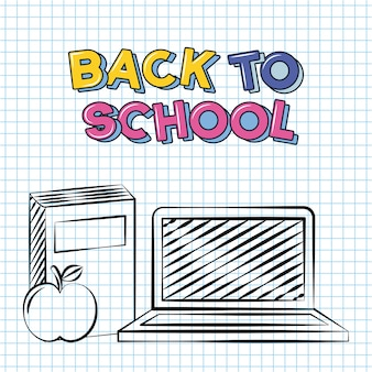 Zurück zu schulgekritzel-schulelementen ein buch ein computer eine aplee illustration