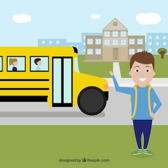Zurück zu schulhintergrund mit bus