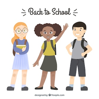 Zurück zu schulhintergrund mit glücklichen studenten