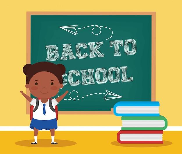 Zurück zu schulkarte mit afrostudentenmädchen