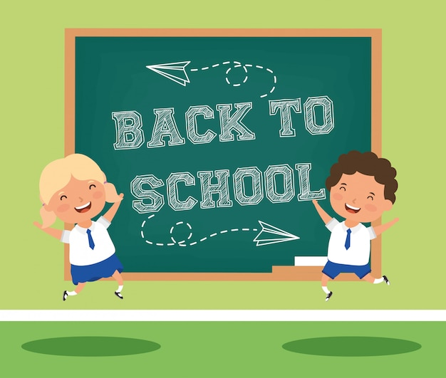 Zurück zu schulkarte mit kinderpaarstudenten