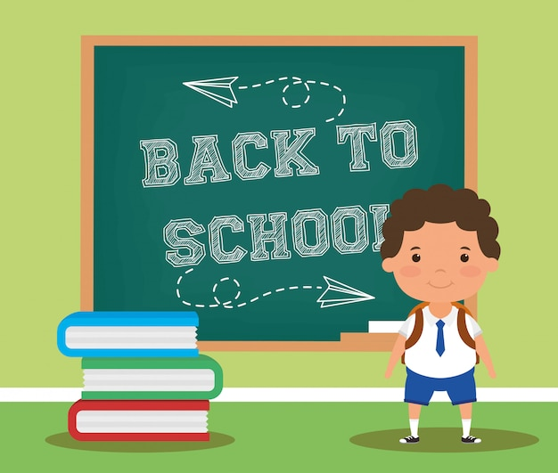 Zurück zu schulkarte mit studentenjungen