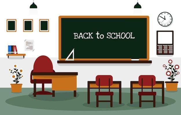 Zurück zu schulklasse klassenzimmer tafel tisch stuhl bildung illustration