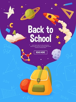 Zurück zu schulplakat-schablonendesign. cartoon und farbenfrohen stil. rucksack mit fliegenden elementen: planeten, molekül, stern, lineal, buch, lineal, bleistift.