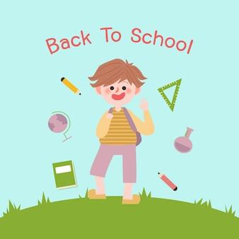 Zurück zu schulvektor. illustration von kindern.