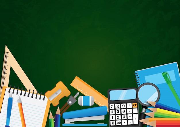 Zurück zu schulvektor-illustrationshintergrund mit copyspace