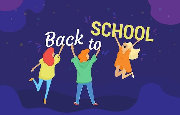 Zurück zu schulvektorillustration von drei glücklichen schülern, die buchstaben halten. flaches design zum feiern des 1. septembers für vorschulklassen und kurse zur einschreibung von diensten