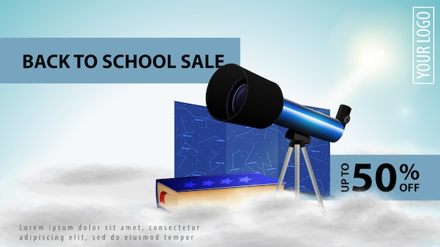 Zurück zu schulverkauf, heller rabattweb-banner für ihre website mit teleskop