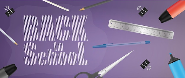 Zurück zum lila banner der schule. schöne inschriften, globus, bleistifte, stifte, gelber rucksack, alter gelber wecker. vektor-illustration