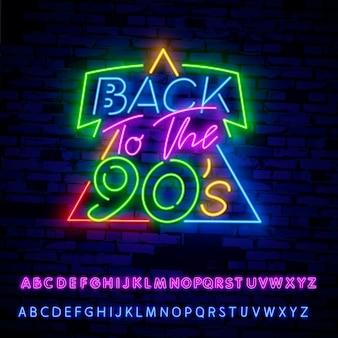 Zurück zum neonschild der 90er jahre