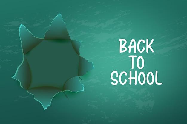 Zurück zum schulhintergrund mit realistischer grüner tafel leere schultafel für das klassenzimmer