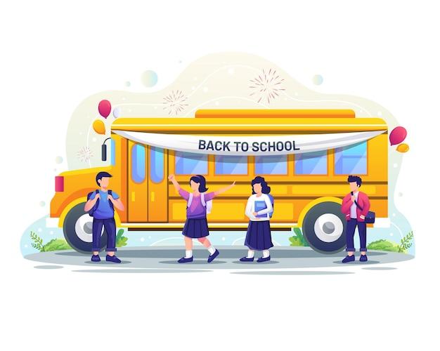Zurück zum schulkonzeptdesign glückliche kinder werden mit der schulbusvektorillustration zur schule gehen