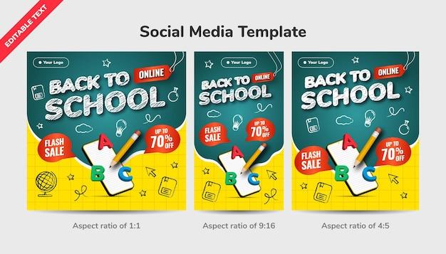 Zurück zum social-media-vorlagenhintergrund der online-schule. flash sale bis zu 70 prozent rabatt. design mit symbolkreide-stil und 3d-darstellung. Premium Vektoren