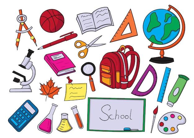 Zurück zur illustration der doodle-elemente in der schule