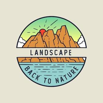 Zurück zur naturlandschaft monoline illustration