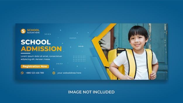 Zurück zur schulbildung social-media-post facebook-cover und web-banner mit abstrakter form und realistischem schatten