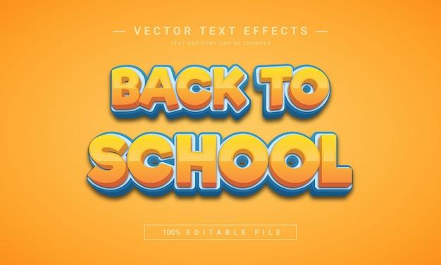 Zurück zur schule 3d-textstilvorlage