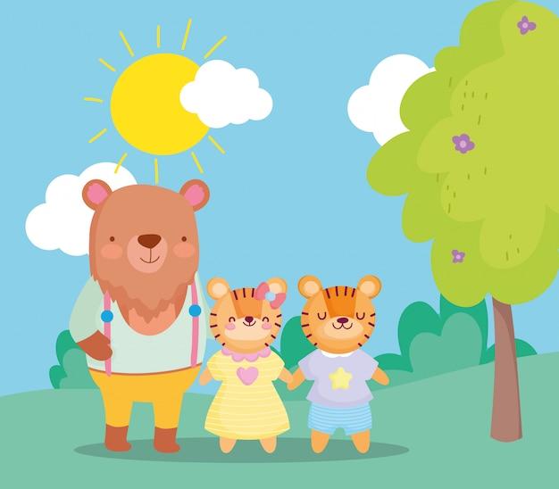 Zurück zur schule, bär und tiger kinder cartoon im freien