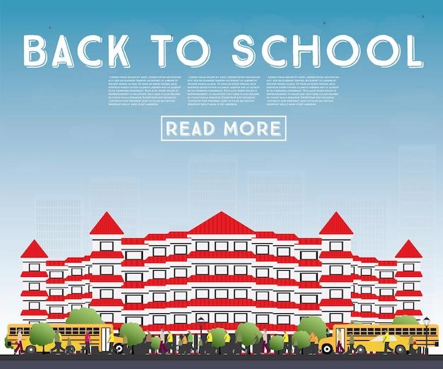 Zurück zur schule. banner mit schulbus, gebäude und studenten. vektor-illustration.