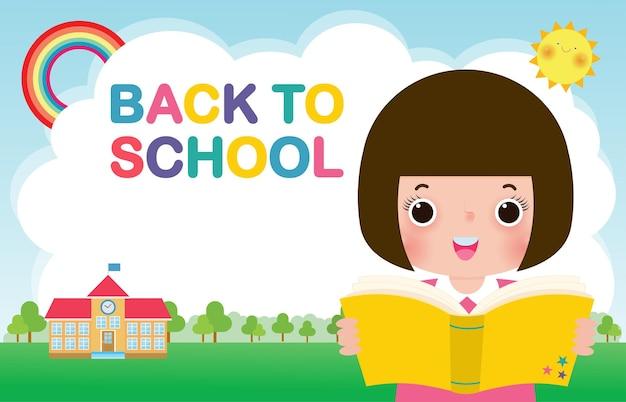 Zurück zur schule banner vorlage kinder lesen buchbildungskonzept für werbebroschüre
