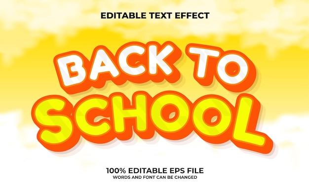 Zurück zur schule bearbeitbarer texteffekt premium-vektor