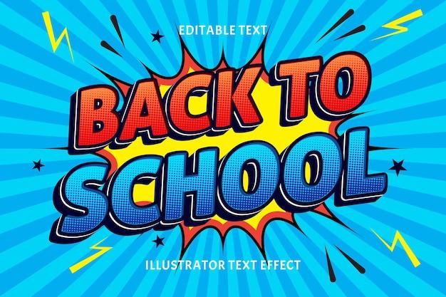 Zurück zur schule bearbeitbarer texteffekt