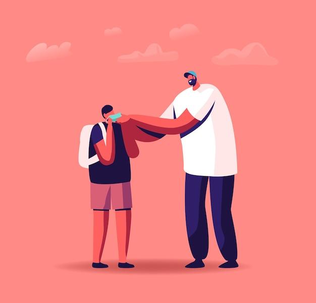 Zurück zur schule beim konzept der coronavirus-pandemie. vater-charakter-hilfe beim anziehen der medizinischen maske für den sohn-schüler, bevor er zum studium geht. quarantäneregeln für studenten. cartoon-menschen-vektor-illustration