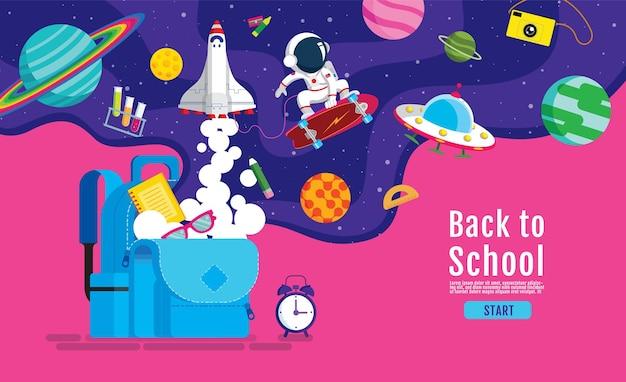 Zurück zur schule, buchinspiration, online-lernen, von zu hause aus lernen, flacher designvektor.