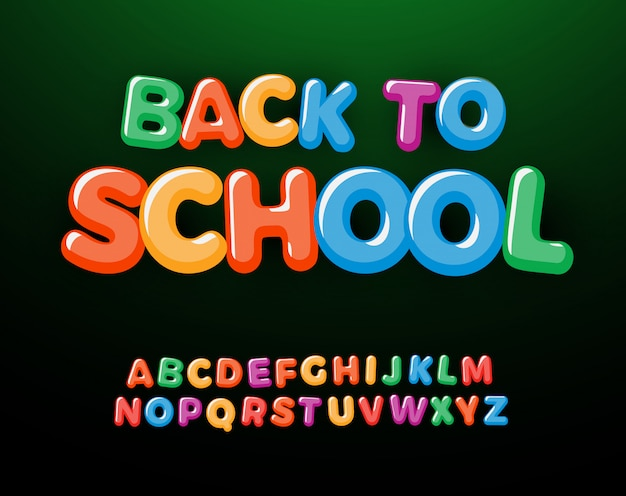 Zurück zur schule buchstaben und zahlen gesetzt. alphabet für kinder im bildungsstil. schrift für veranstaltungen, werbeaktionen, logos, banner, monogramme und poster. typografie-design.