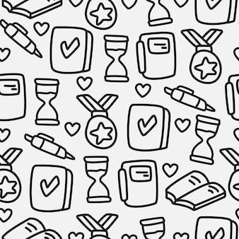 Zurück zur schule cartoon gekritzel muster design