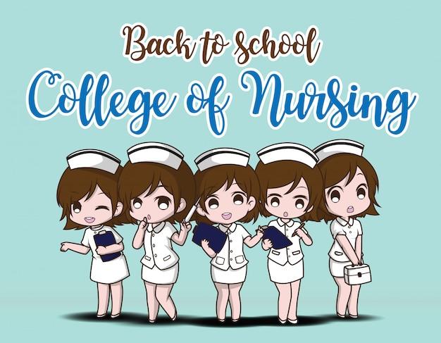 Zurück zur schule. college of nursing.