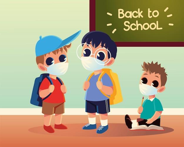 Zurück zur schule der jungen mit medizinischen masken, sozialer distanzierung und bildungsthema
